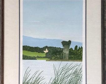 "World Cup of Sales Patti Jacquemain ""Montecito"" Large Woodblock Print #3/25 Framed California Lamdscape"