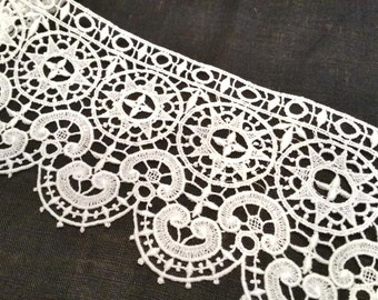 White Vintage French Lace, White Chantilly/Guipure Lace, Wide Lace, One Scallop Edge w/Finished Straight Edge, Imported 30's, price per yard