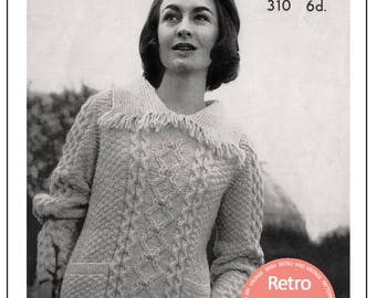 Aran Fringed Sweater Knitting Pattern  - PDF Knitting Pattern - PDF Instant Download