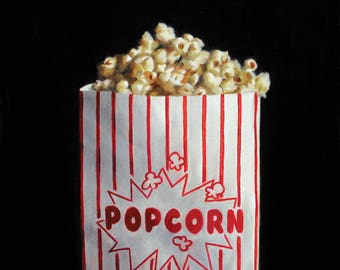 Popcorn 8x8 original oil painting realistic still life by Nance Danforth