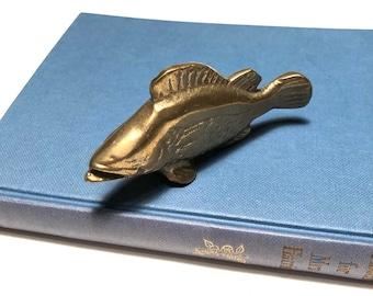 Vintage brass paperweight, vintage paperweight, brass fish, fish figurine, nautical decor, brass animals vintage