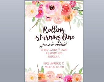Watercolor Flower Birthday Invitation