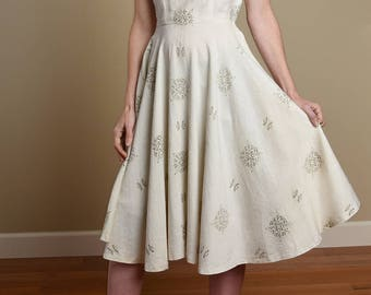 Vintage 50's Dress, 1950's Raw Silk Dress, Hand Blocked Pattern, Circle Skirt Dress