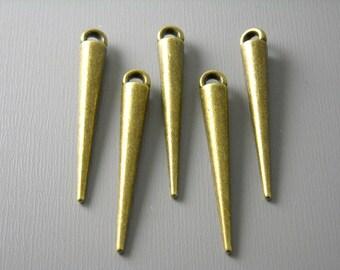 CHARM-AB-SPIKE - Antique Brass Spike Charm - 6 pcs
