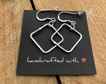 Textured Wire Squares Earrings