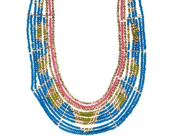 African Beaded Bib Necklace,collar Blue Pink and Gold  Statement Necklace,Tribal Bohemian Jewelry,Bold Necklace,Bohochic Jewelry by Taneesi