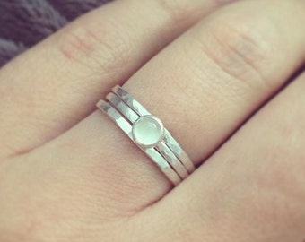Moonstone Ring, Moonstone Silver Ring, Silver Stacking rings,Hammered Silver Rings, Minimalist Ring, Moonstone Jewellery, UK sellers only