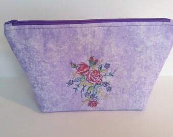 Zipper Pouch, Machine Embroidered Flowers, Cosmetic Bag,Toiletry Storage,Mother's Day Gift,Gift for Her,Light Purple Pouch,Ready to Ship