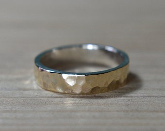 Womens Hammered Gold Wedding Band Ring, Gold Wedding Band for Women, Hammered Gold Wedding Band Ring, Gold Wedding Band Ring
