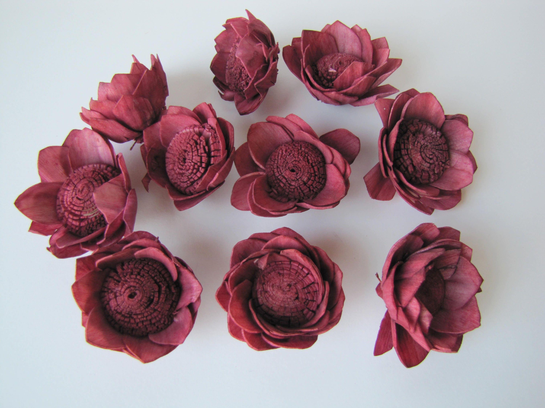 Aubergine Camellia Sola Flowers- SET OF 10 , Wine Sola Flowers ...