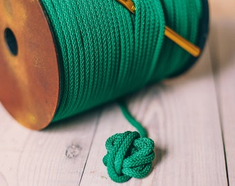 GREEN yarn, macrame cord, polyester cord, green polyester rope, crochet rope, rope yarn, macrame yarn, crochet cord, 200 meters of cord #30