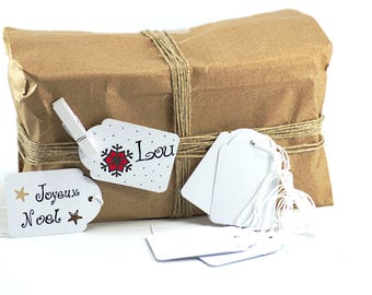 10 labels-customizable string for gift - 5.3 x 3.6 cm - color white