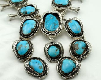 Stunning Vintage Navajo Native American Sterling Silver and Turquoise Squash Blossom Necklace  FREE SHIPPING! #SQUASH-SQB1