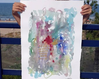 Large  watercolour. Abstract painting. Flowers.
