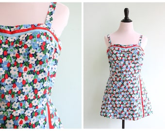 Vintage 1970's Blue and Red Cotton Floral Playsuit | Size Medium
