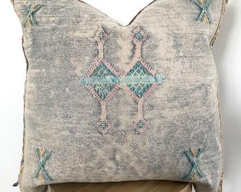 19 x 19 Grey/Blue Cactus Silk Pillowcase
