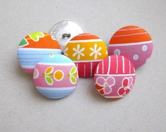 5 buttons 26 mm fabric stripes, polka dots and multicolored