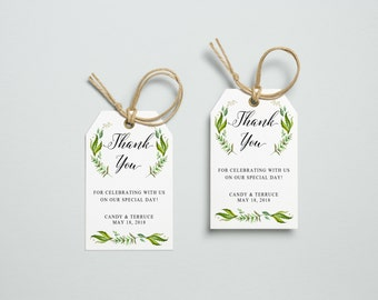 Thank You Tag, Wedding Thank You Tags, Gift Tags, Wedding Favor, Thank You Printable, Wedding Printable, Green Leaves Tag, Amy collection