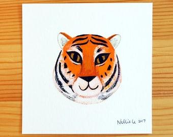 Tiger Face 1 - Mini Original Painting