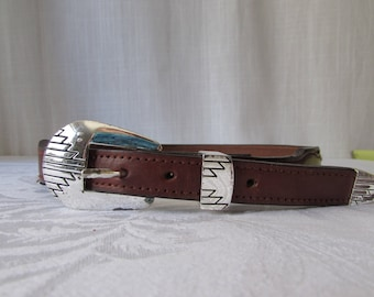 Belt Western Leather size 26 Silver detail Cowboy made in USA