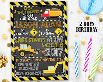 Under construction birthday invitation Birthday card Digital printable Dump Truck invitation 2 boys invitation Brothers invitation