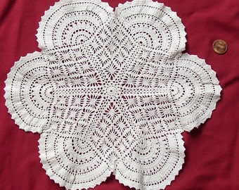 Pretty Vintage LACE CROCHET DOILY, collectible, assembledge, upcycle,