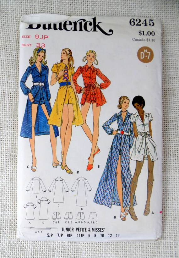 Vintage sewing pattern Butterick 6245 Hot Pants set Overskirt Bust ...