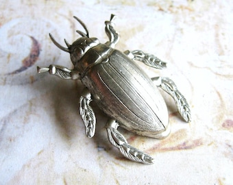 Big Bug - Antiqued Silver Plated Beetle Bug Brooch, Lapel Pin or Tie Pin