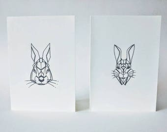 Geometric Hare & Rabbit Card Set/Animals/Lupus/Mammal/Prints/Hand Made/Pen/Ink Drawings/Intricate/Easter/Holidays