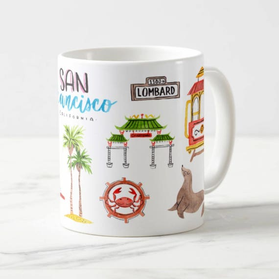 Coffee Mug San Francisco Coffee Cup - San Fran Mug - Golden Gate Bridge - Painted Ladies - Cable Car