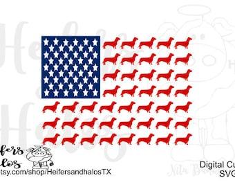 Doxie Dachshund, Weenie Dog American Flag, svg, pdf, png, eps cut file or t-shirts, decals, yeti cups.  4th of July, dog svg
