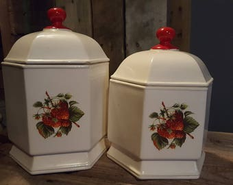 Vintage Strawberry Ivory Ceramic Canister Duo