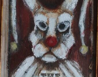 Circus White Rabbit Bunny Dark Art OOAK Original Framed Painting  Wall Decor Asylum Themed  Ready To Hang