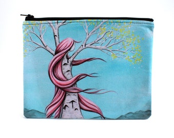 Content - Zipper Pouch - Girl Birch Tree with Wind Blown Pink Hair - Art by Marcia Furman