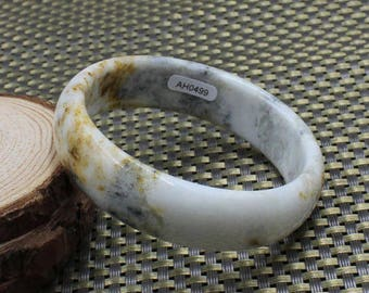 "Old Mine Myanmar 60mm  ""Hong"" is Honey Red-Brown-Yellow Veins on Soft Gray Jadeite Jade Bangle #499"