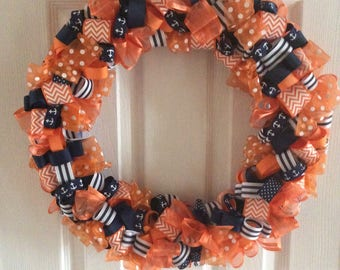 Orange and navy Ribbon wreath
