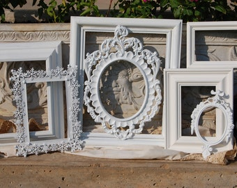 Frame Collage - Shabby Chic Frames - Set Of 7 PICTURE FRAMES - Nursery Wall Decor