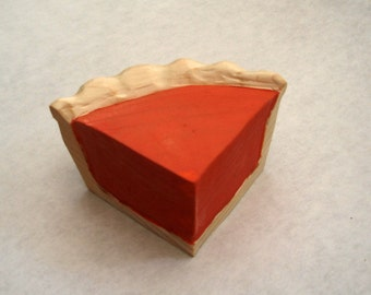 Wooden toy Pumpkin pie slice handmade wooden play food