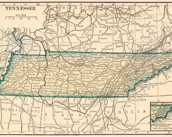 Tennessee map Etsy