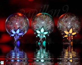 Dandelion Seeds Pendant / Glow in the Dark / Glass Bubble Pendant / Dandelion Seeds Necklace /