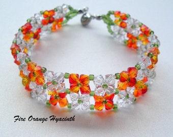 Swarovski Elements Bracelet, Orange Crystal Bracelet, Fire Orange Bracelet, Orange Bead Bracelet, Orange Crystal Jewelry