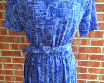 Vintage 80s Leslie Fay purple and gray pattern dress. Size 10