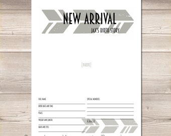 Chunky Arrows Digital Baby Book Pages PDF Grey Gray