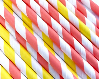 Yellow and Coral Paper Straws, Summer Party, Citrus Colors, Boys Birthday, Girls Birthday Cake Pop Sticks, Beverage Straws