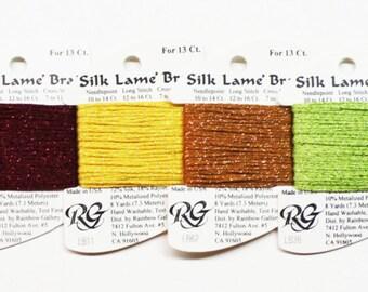 Silk Lame Braid 13 Ct 3.60 Each, Silk Lame Braid 18 Ct, Rainbow Gallery Silk Lame Braid, Metallic Yarns, Metallic Braid, Rainbow Gallery