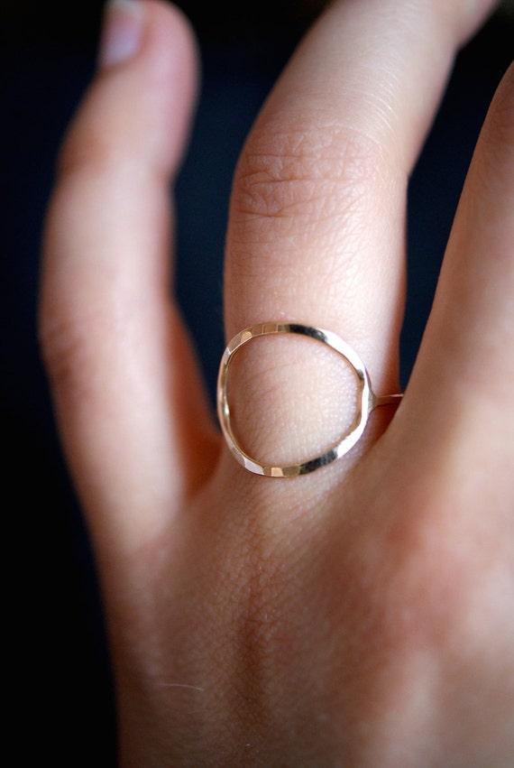 Kreis Ring in 14K Gold füllen Kreisring dünn oder dick