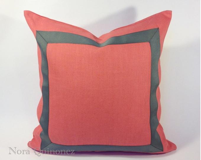 Coral Linen Pillow Cover with Gray Grosgrain Ribbon Border - Invisible Zipper Closure- Cushion Cover 46x46 cm.