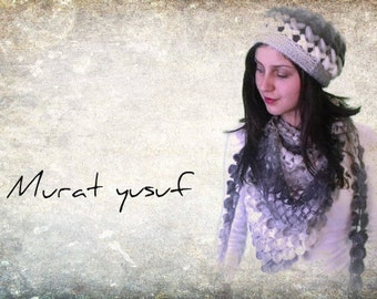 Crochet Hat and Knitting Infinity Scarf Set Gray Variegated with flower, Winter Accessories , Crochet shawl and hat set