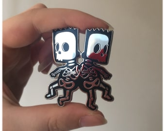 Bart and Hugo Conjoined Twins SILVER Enamel Pin