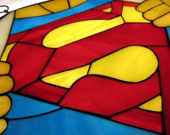 Superman stained glass mosaic - Window or wall hanging